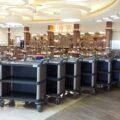 ترولی رستوران و تالار و برای نظافت و ارائه خدمات