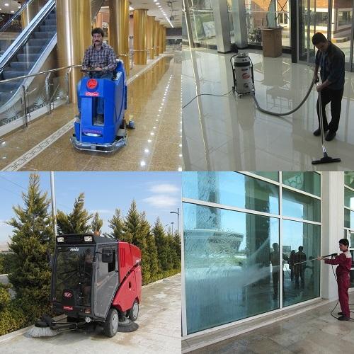 نظافت صنعتی مراکز تجاری با دستگاه مکانیزه نظافتی