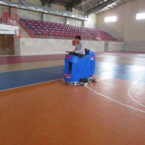 نظافت سالن ورزشی با اسکرابر باتری دار