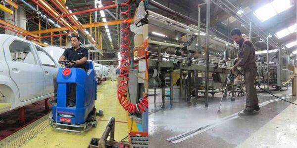 استفاده کف شوی صنعتی و دستگاه واترجت در نظافت مجموعه های صنعتی