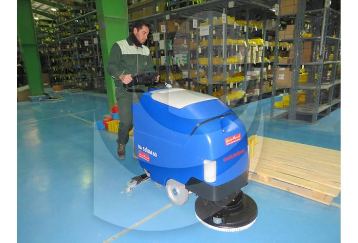cleaning epoxy floor with Scrubber