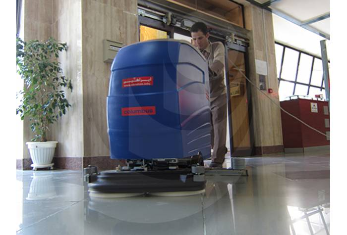 cleaning floor surfaces in buildings with cable scrubber