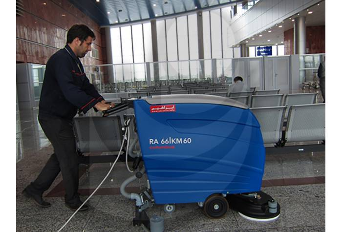 Floor cleaning airport with scrubber