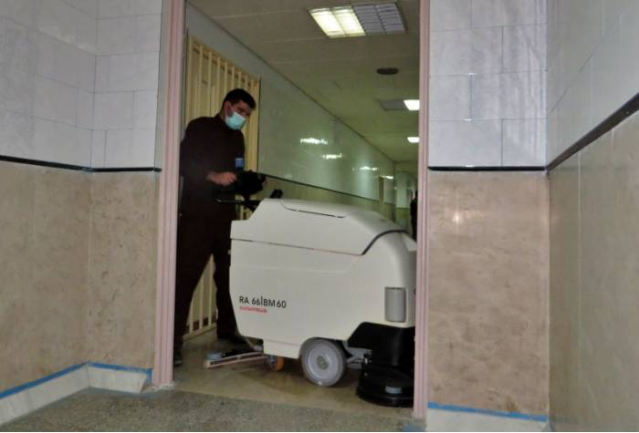 floor hospital washing with scrubber