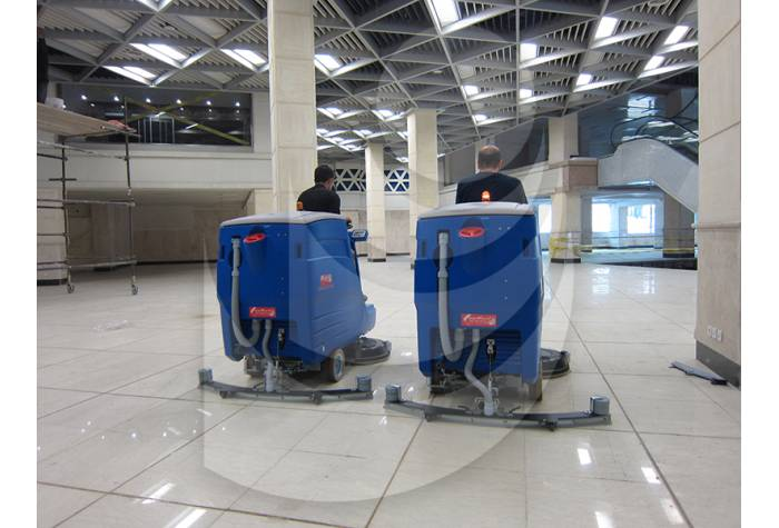 floor cleaning scrubber commercial complex with scrubber