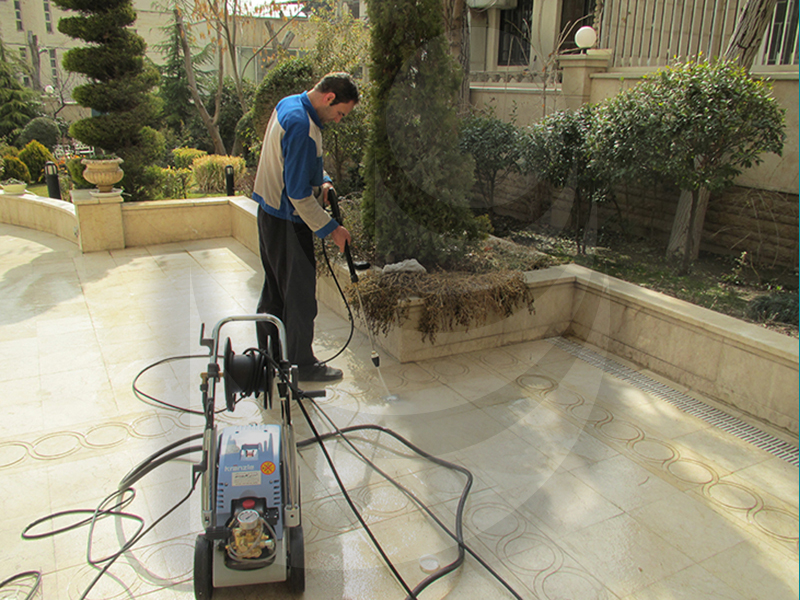 Washing residential complex with industrial water jet Q 9/170 TST