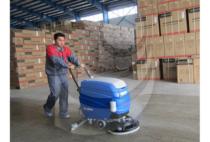 floor cleaning warehouse with scrubber